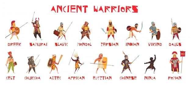分離された国立武器で設定された古代の戦士 無料ベクター