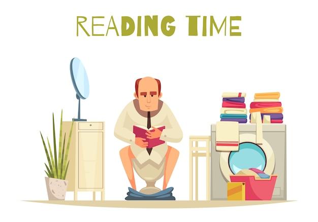 洗濯機フラットでトイレで読書時間 無料ベクター