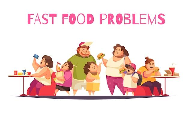 大食いのシンボルフラットとファーストフードの問題の概念 無料ベクター