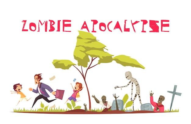 Концепция атаки зомби с плоскими символами апокалипсиса и страха Бесплатные векторы