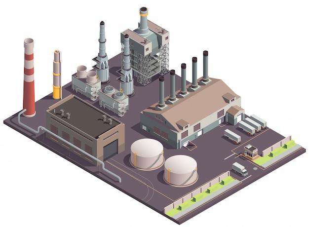 植物地域の風景工場施設巨大なファブリックの建物と輸送ユニットと工業用建物等尺性組成物 無料ベクター