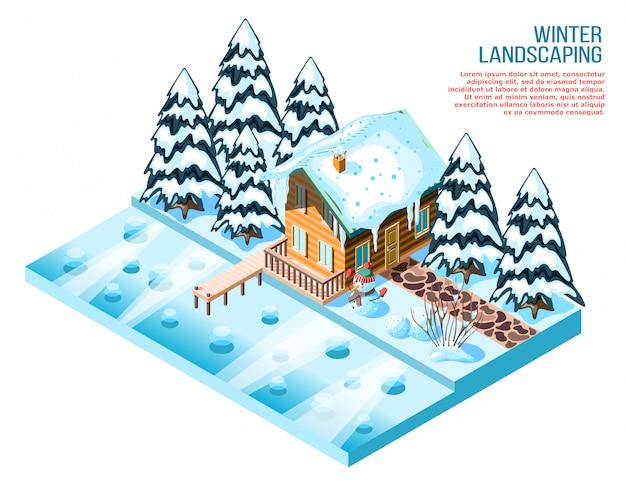 木造住宅雪に覆われたトウヒと凍った湖の近くの装飾と冬の美化等尺性組成物 無料ベクター