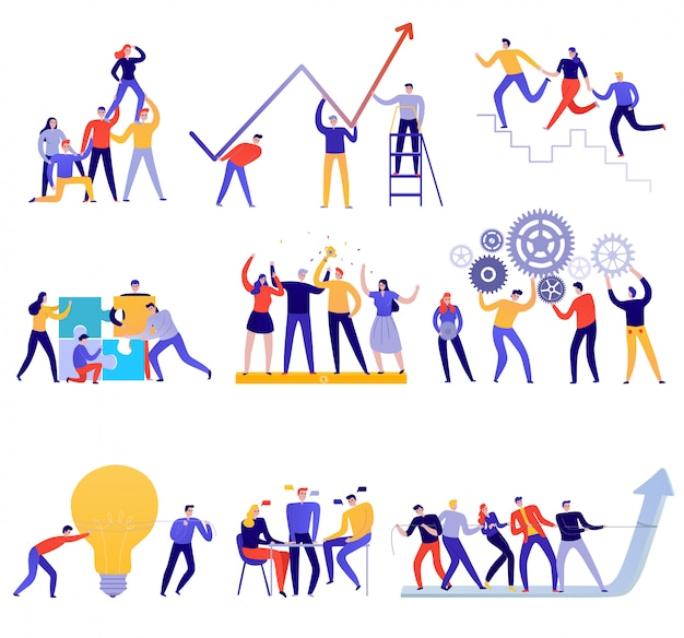 Работа в команде иконы плоский красочный набор с людьми, пытающимися достичь целей вместе, изолированные на белом Бесплатные векторы