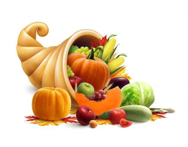 Концепция благодарения или золотого рога изобилия с рогом изобилия, полным овощей и фруктов Бесплатные векторы