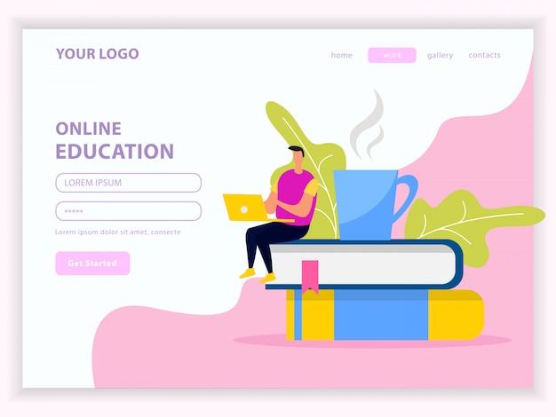 Целевая страница веб-сайта с библиотекой и онлайн-обучением с учетной записью пользователя на белом розовом Бесплатные векторы