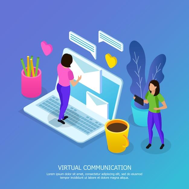 Женщины с мобильными устройствами во время виртуального общения изометрической композиции на синем Бесплатные векторы