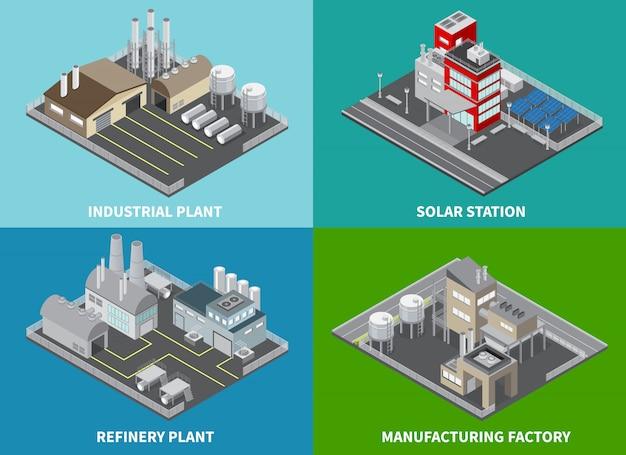 製油所プラントと分離されたソーラーステーション等尺性と工業用建物の概念のアイコンを設定します。 無料ベクター
