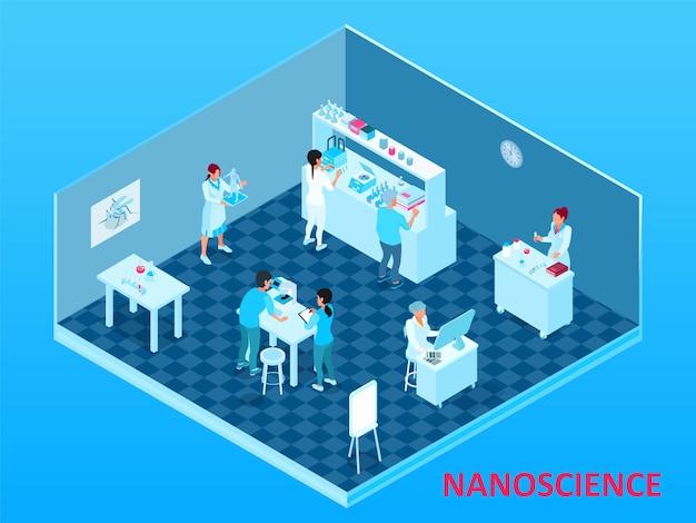 Цветная изометрическая нанотехнологическая композиция с изолированной лабораторной комнатой с учеными и оборудованием Бесплатные векторы