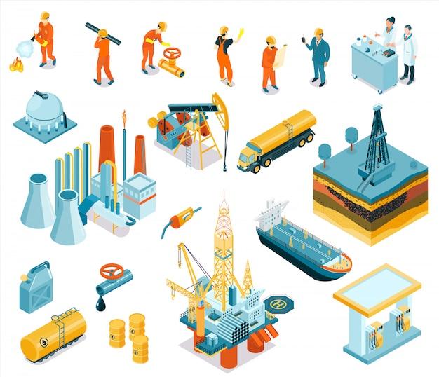 工場で働く雇用者と分離された分離等尺性石油産業労働者アイコン 無料ベクター