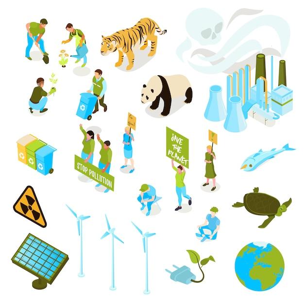 Изолированный и изометрический экологический символ загрязнения установлен со способами сохранить флору и фауну планеты Бесплатные векторы
