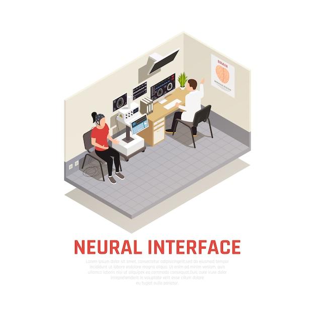 Изометрическая концепция неврологии и нейронного интерфейса с символами исследования мозга Бесплатные векторы