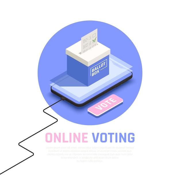 オンライン投票シンボルを使用した選挙および投票等尺性概念 無料ベクター
