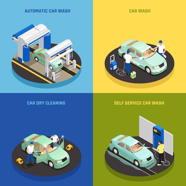 セルフサービス洗車シンボル等尺性分離と洗車コンセプトアイコンを設定します。 無料ベクター