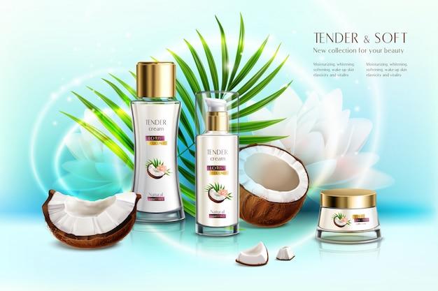 Экологически чистая косметическая продукция с кокосовой косметикой, реалистичная композиция с кремом для тела и лосьоном против старения Бесплатные векторы