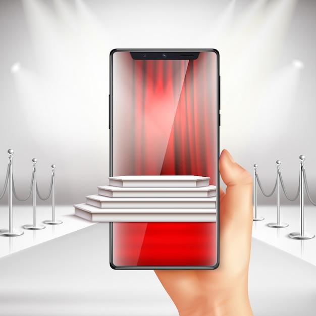 フルスクリーンのスマートフォンは、拡張現実アプリのリアルな構成でレッドカーペット表彰式の準備を表示します 無料ベクター