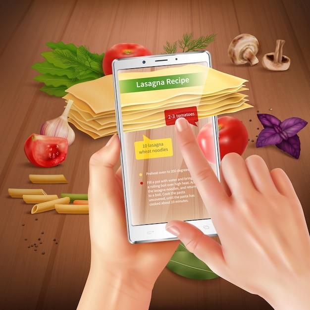 Смартфон дополненной виртуальной реальности приложение для приготовления пищи с сенсорным экраном распознает ингредиенты лазаньи, предлагая рецепт реалистичной композиции Бесплатные векторы