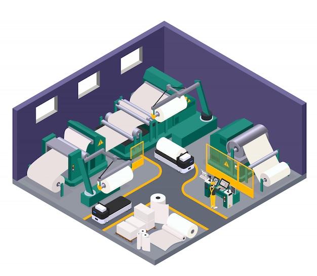 Концепция производства бумаги с книгами и символами туалетной бумаги изометрии Бесплатные векторы