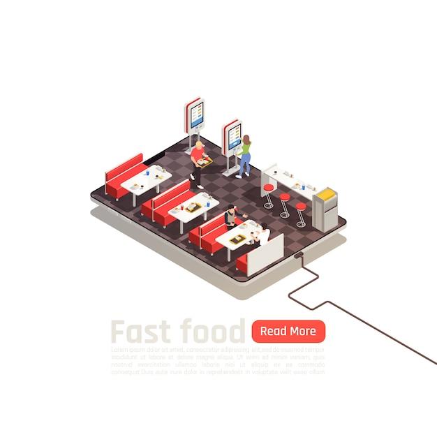 Изометрические постер фаст-фуд с клиентами в интерьере кафе самообслуживания Бесплатные векторы