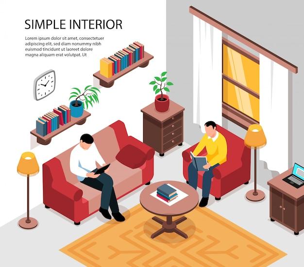 シンプルな居心地の良いアパートの部屋のインテリアデザインソファアームチェアコーヒーテーブル本棚テナント等角図 無料ベクター