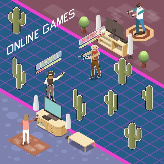 ゲームゲーマーウェアラブルアクセサリーとテキストでバトルゲームをプレイする人々の視点で等尺性組成物 無料ベクター