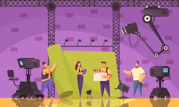 Процесс производства кинофильмов в виде плоского мультфильма с оборудованием съемочной группы на месте съемки сцены Бесплатные векторы