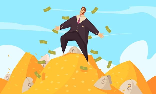 Плоский мультипликационный плакат богатого человека с толстым бизнесменом среди летающих долларов на золотом верху Бесплатные векторы