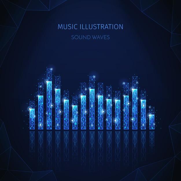 音楽メディアの多角形ワイヤーフレーム構成、編集可能なテキストと輝く粒子を含むイコライザーストライプの画像 無料ベクター