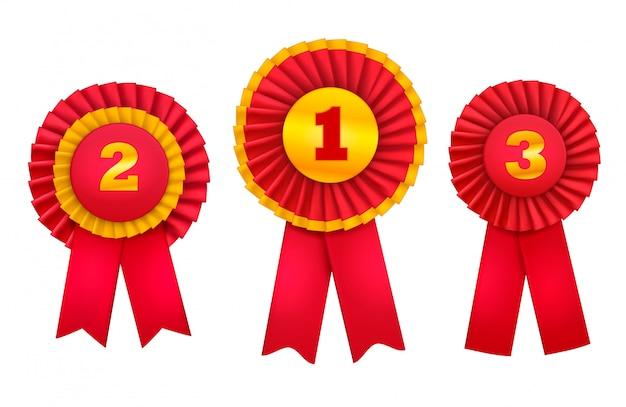 やりがいのあるバッジロゼットは、赤いリボンで飾られた上位の勝者の注文の現実的なセットを与えます 無料ベクター