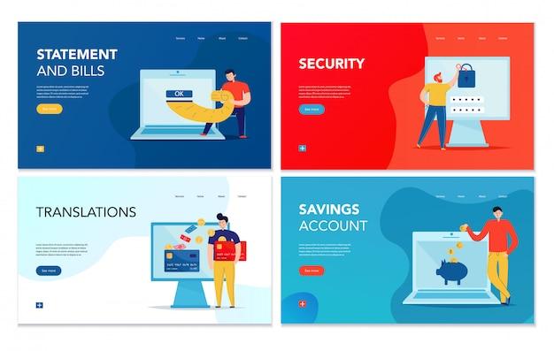 Набор из четырех горизонтальных баннеров с различными операциями онлайн-банкинга на фоне красочных изолированных Бесплатные векторы