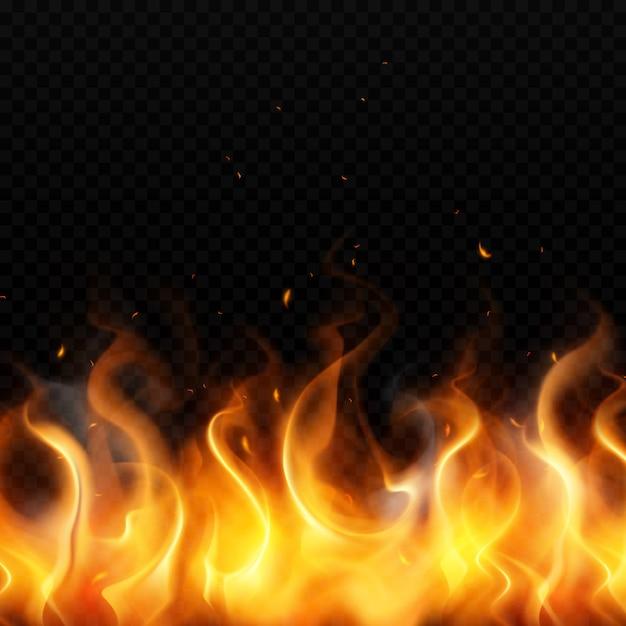 Пламя золотого огня на темном прозрачном фоне с реалистичными красными искрами Бесплатные векторы