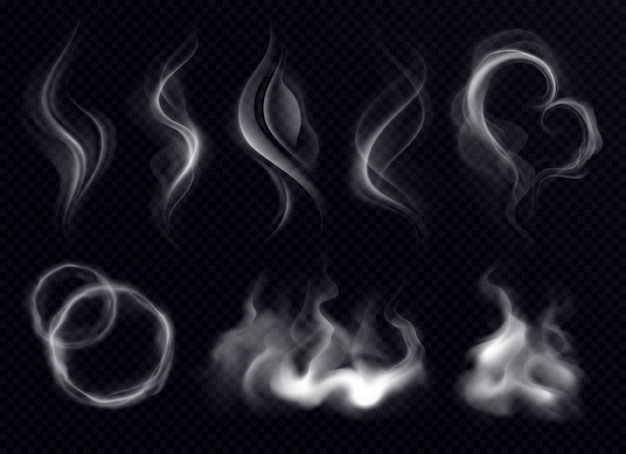 分離された暗い透明な背景にリングと渦巻き形状の現実的なセットホワイトとスチームの煙 無料ベクター