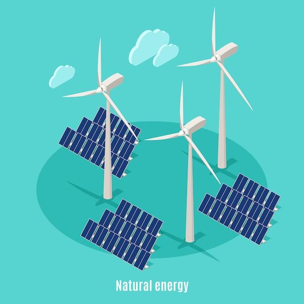 Умный городской экологии изометрической фон с текстом и изображениями ветряных мельниц турбинных башен и солнечных батарей Бесплатные векторы