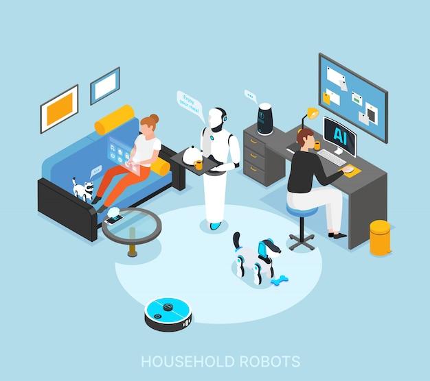 Робот интегрированный умный дом с запрограммированной гуманоидной кулинарией, подающий еду, чистящий учебные задачи, изометрическая композиция Бесплатные векторы