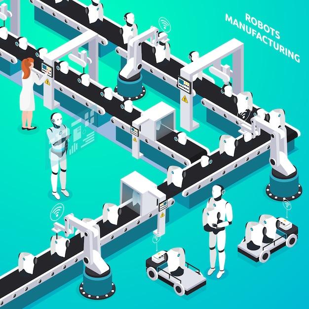 Автоматизированная производственная линия домашних роботов с участием женщин и операторов-гуманоидов, контролирующих изометрический состав Бесплатные векторы
