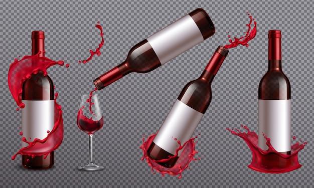赤ワインのボトルと飲み物で満たされたコップの現実的なセット 無料ベクター