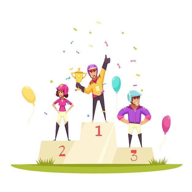 騎手、風船、紙吹雪の表彰台 無料ベクター