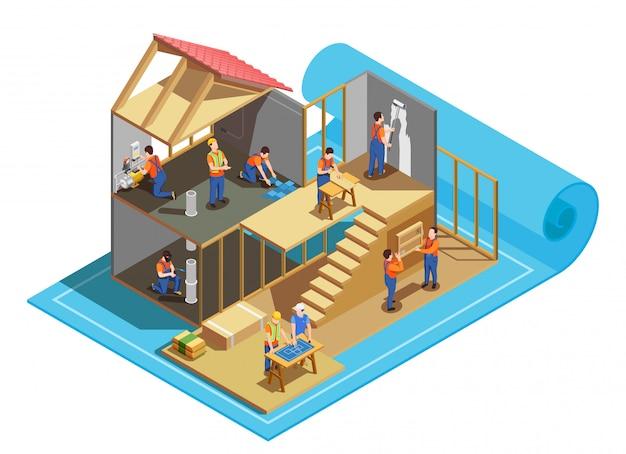 Строительные рабочие с профессиональными инструментами и планом Бесплатные векторы
