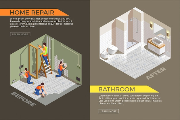 Ванная до и после строительных работ Бесплатные векторы