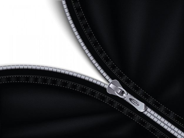 黒い布に縫い付けられた半分閉じたグレーのジッパー 無料ベクター