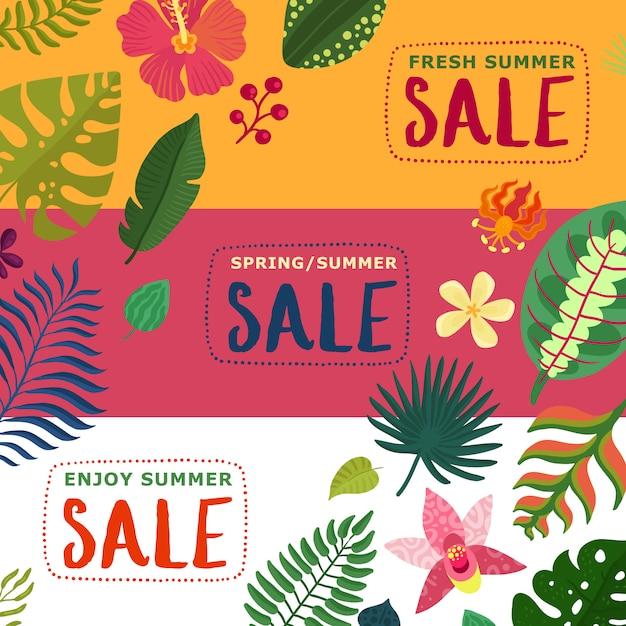 熱帯植物で設定されたカラフルな夏と春の販売バナー 無料ベクター