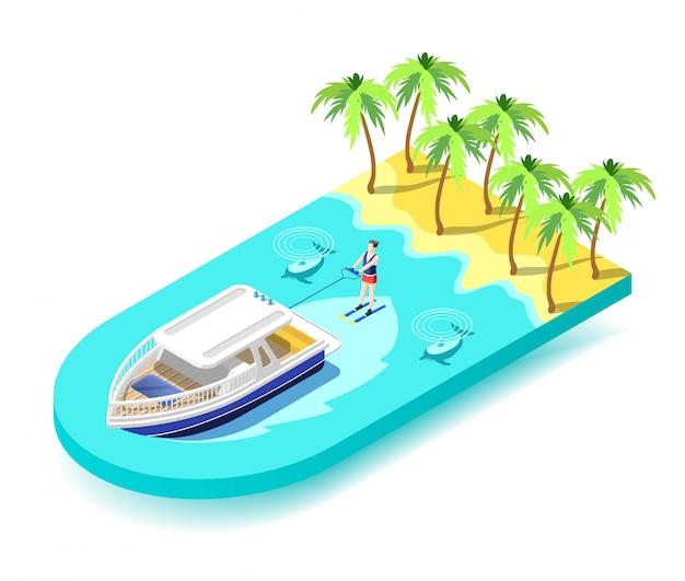 熱帯の海でのウォータースポーツ活動 無料ベクター