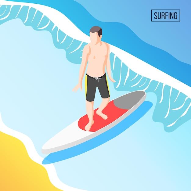 Человек, серфинг в море Бесплатные векторы