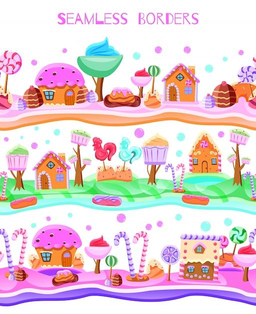 ロリポップの木とカップケーキの家のおとぎ話のキャンディランド 無料ベクター