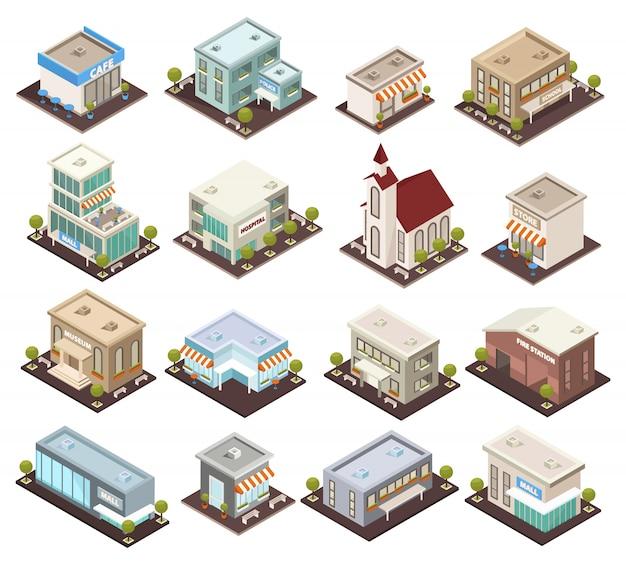 等尺性都市建築コレクション 無料ベクター