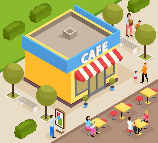 Изометрические кафе в городе Бесплатные векторы