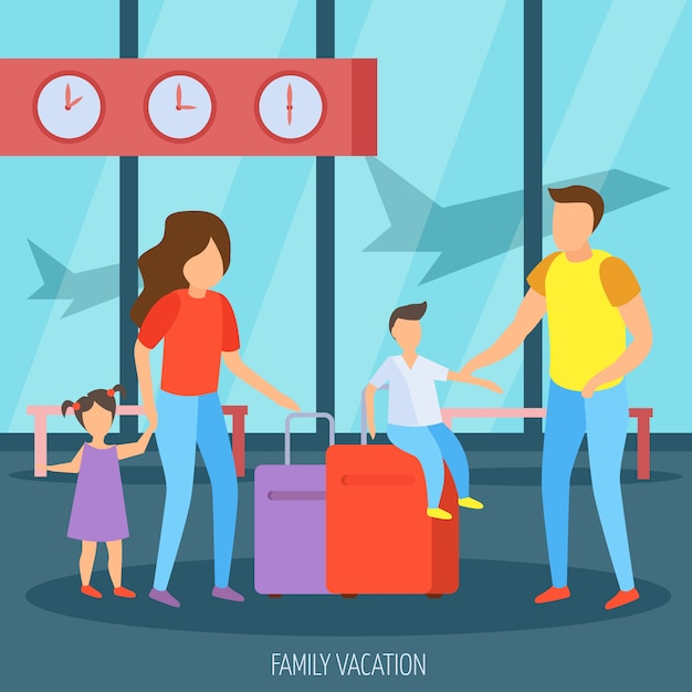空港で家族での休暇 無料ベクター