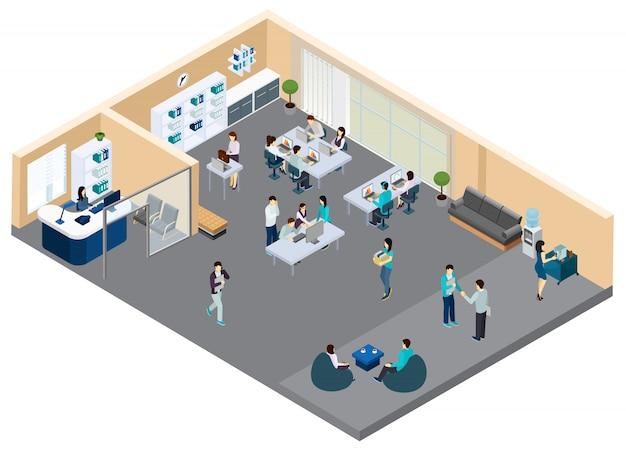 Изометрические офис с рабочими Бесплатные векторы