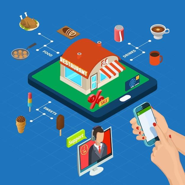 Изометрические онлайн заказ в ресторане Бесплатные векторы