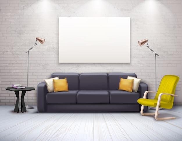 家具を備えたリアルでモダンなインテリアのモックアップ 無料ベクター