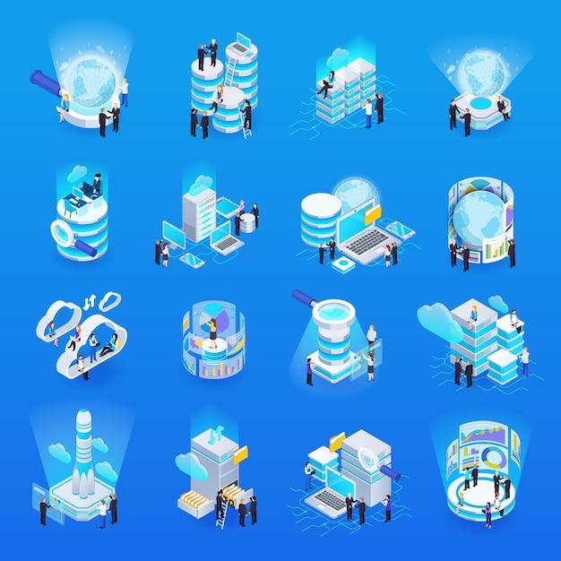 Большая коллекция элементов обработки данных Бесплатные векторы